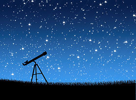 13803093 - telescope on the grass under the stars background